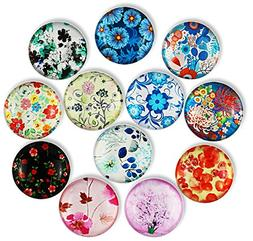 12pcs Flower Refrigerator Magnets, Cosylove Crystal Glass Fr