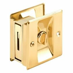Slide-Co 161495 Pocket Door Privacy Lock with Pull, Polished