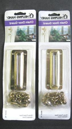 2 BRASS PLATED STEEL CHAIN DOOR GUARD GUARDS HOME SECURITY L