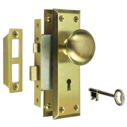 Defiant 2 in. Satin Brass Victorian Door Knob Mortise Lock S