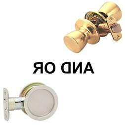 Kwikset 334 Round Hall/Closet Pocket Door Lock in Satin Nick