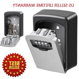 4 Digit Combination Key Lock Box Wall Mount Safe Security St