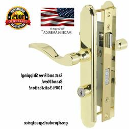 4-in Keyed Polished Brass Screen Door & Storm Door Mortise L