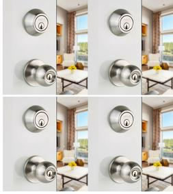 4 Packs Ball Knob Door Lock Combo Set Keyed Alike Knobs & De