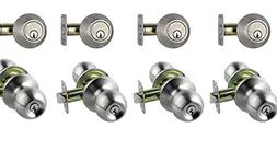4 Sets of Keyed Same Door Knob and Double Cylinder Deadbolt,