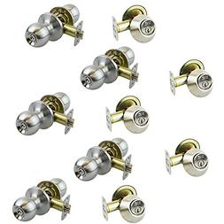 5 Sets of NuSet FremontEntry Door Knob and Single Cylinder D