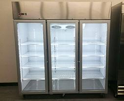 "78"" 3 Door Commercial Reach In Glass Front Freezer Merchandi"