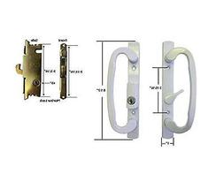 Glass Patio Door Handle Set with Mortise Lock, White, Keyed,