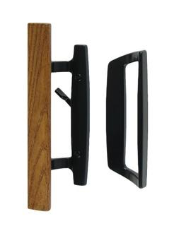Bali Nai Sliding Glass Door Handle Set with Oak Wood Pull in