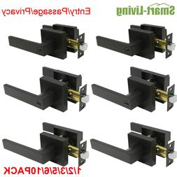 Black Square Door Knobs Handles Bedroom Privacy/Passage/Entr