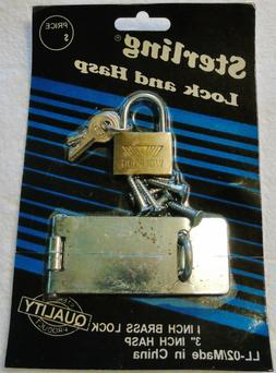 Brass Door Latch Metal Hasp Padlock Small Lock w/ Key Set w/