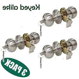Probrico Brushed Nickel One Keyway Entrance Door Knobs Entry