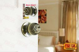 NuSet Dana Privacy Antique Brass Door Lock Knob for Bedroom
