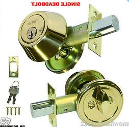 deadbolt single cylinder polished brass door lock 2 keys new