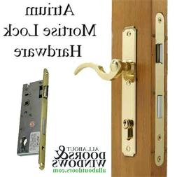 Atrium Door Hardware, Lever Style Mortise Lock - Polished Br