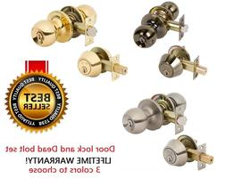 Exterior Entry Door Knob Single Cylinder Deadbolt Lock Combo