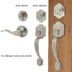 Exterior Front Entry Door Handle set Locks Brushed Nickel Le