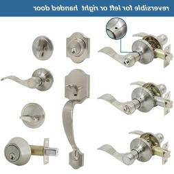 Front Door Handle Entry Lock set Brushed Nickel Privacy Pass
