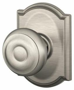 Schlage F10-GEO-CAM Passage Camelot Knobset; Satin Nickel