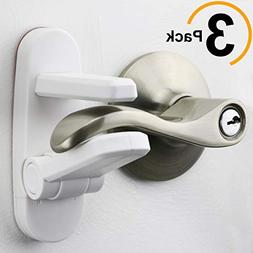 Improved Childproof Door Lever Lock 3-Pack Prevents Toddlers