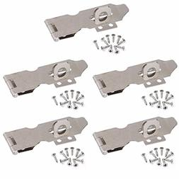 "5x 3"" inch Zinc Plated Safety Hasp and Staple for Gate Door"