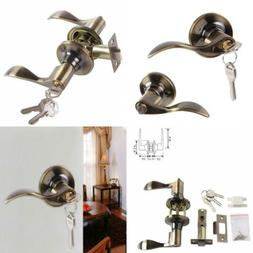 Keyed Door Knob Lever with Lock and Key, Ohuhu Wave Entry Ha