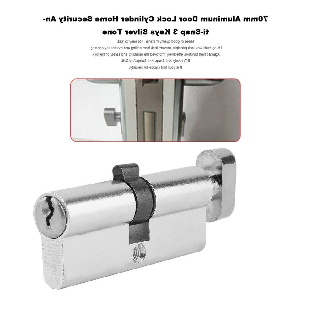 70mm <font><b>Lock</b></font> Cylinder Anti-Snap With Keys Silver Tools