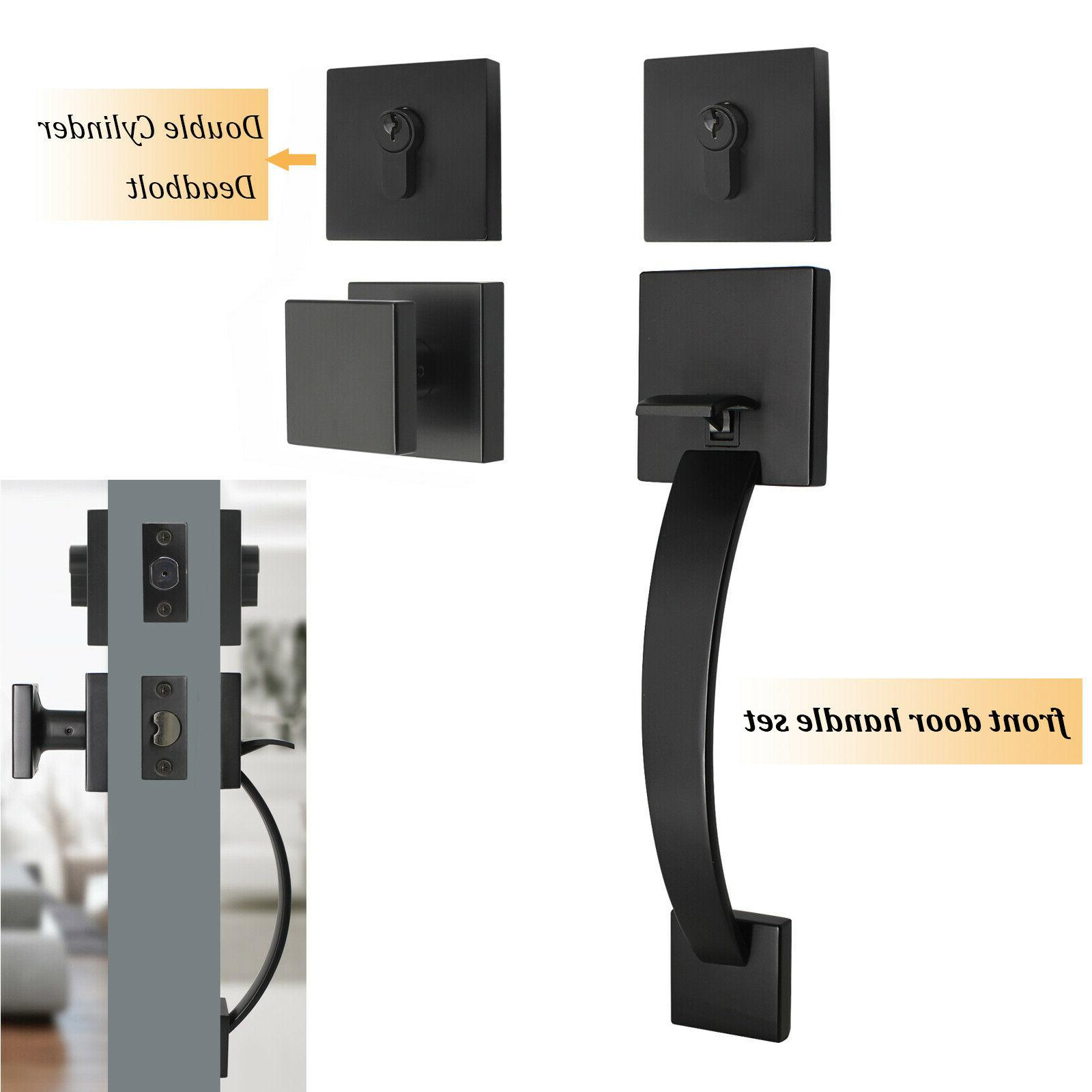 black exterior front entry door handle lock