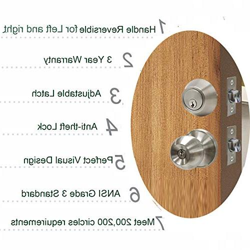 6 Pack Entry Cylinder Deadbolts,Keyed Entry Handleset for Door,Entry knob Set,Contractor