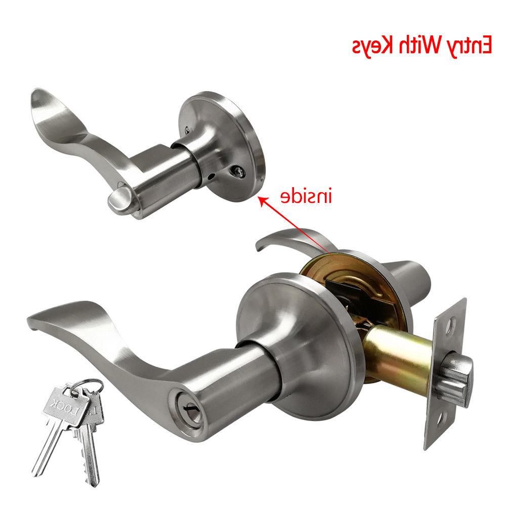 Entry Door Lock Set Home Entrance Bronze