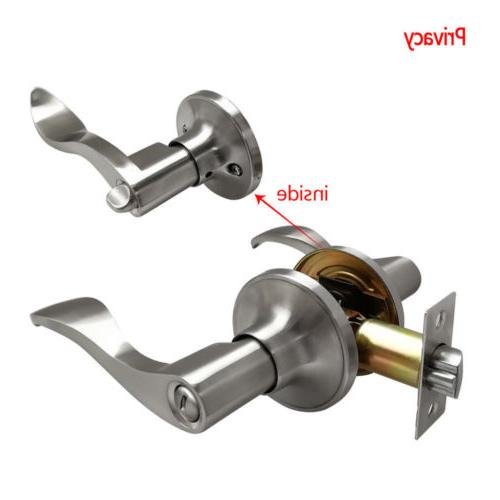 Entry Door Set Handle Home Passage Satin Nickel