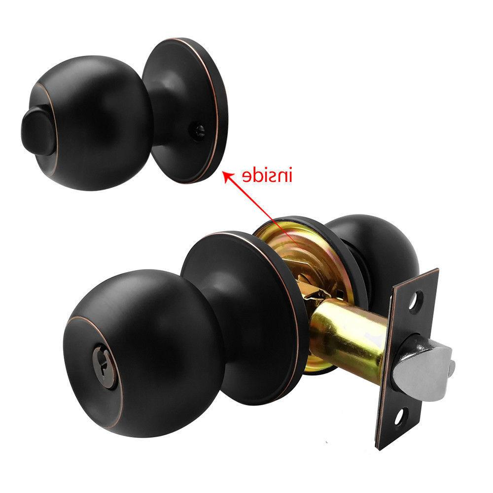 Home Door Knob Lock Entry Privacy Passage Dummy Lockset Oil