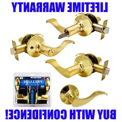 Constructor Prelude Polished Brass Lever Door Lock Entry Pri