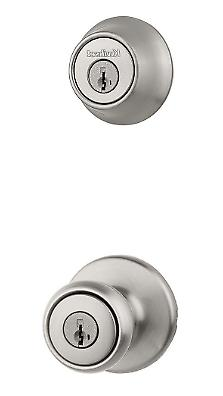 Satin Nickel Door Knob Combo Smartkey Security Lock Pack Adj