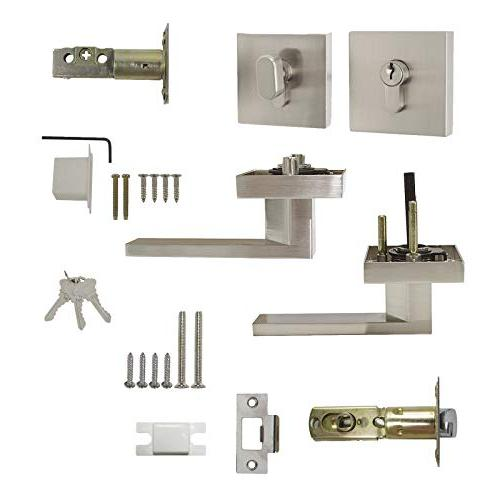 Probrico Square Pocket Door Single Deadbolts Pack, for Door and Brushed Nickel Hardware-3
