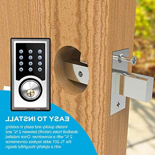 TURBOLOCK TL-201 Electronic Deadbolt Keyless Entry Lock w/Code Programmable 1-Touch + Brush Nickel