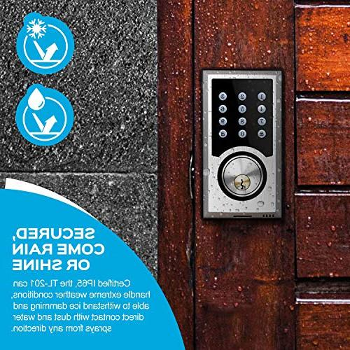 TURBOLOCK Deadbolt Lock Programmable Codes, Locking + 3 Brush