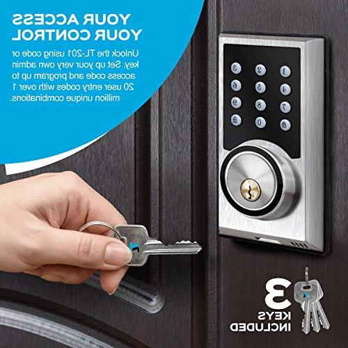 TURBOLOCK TL-201 Deadbolt Keyless Entry Lock w/Code Programmable 1-Touch + Brush