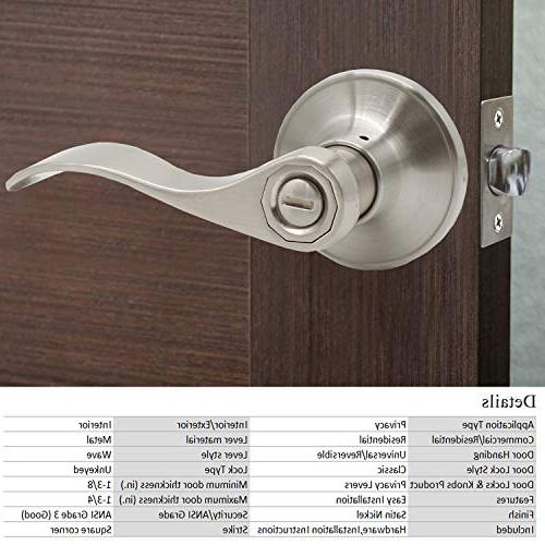 Probrico Wave Style Privacy Bed and Door Handle Lockset