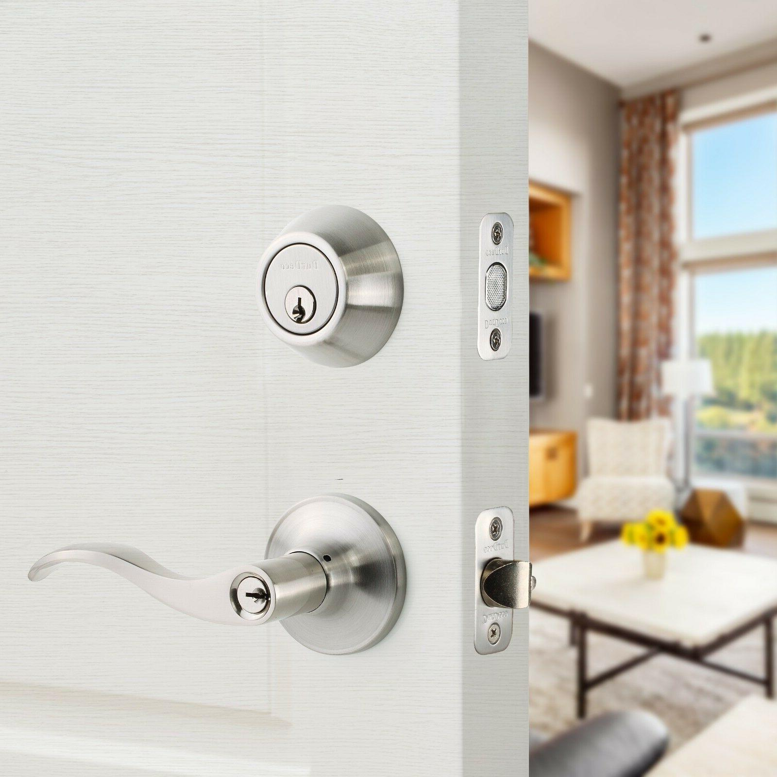 Wave Style Lever Lock Keyed Privacy Dummy & Nickel