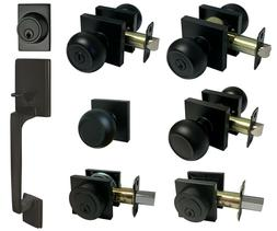 Matte Black Square Plate door locks Knobs Keyed entry privac