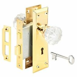 Prime Line E2311 Glass Knob & Brass Trim Mortise Caselock As