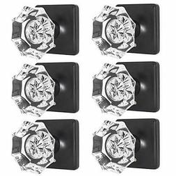 Octagon Crystal Door Knobs with Lock, Privacy Function 6 Pac