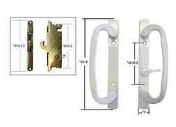 Patio Door Handle Set with Mortise Lock, White, Non-Keyed, 3