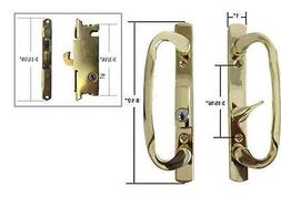Patio Door Handle Set with Mortise Lock, Brass, Non-Keyed, 3