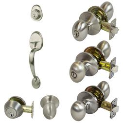 Pearson Egg Style Door Knob Lock Handle Hardware, Satin Nick