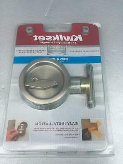 KWIKSET Round Satin Nickel Bed/Bath Pocket Door Lock # 335-1