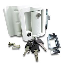RV Travel Trailer Entry Door Lock Polar White Paddle Deadbol