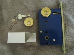 S. Parker Double Cylinder Mortise Lock Polished Brass Iron g