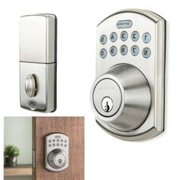 Satin Nickel Deadbolt Door Electronic Lock Keyless Exterior